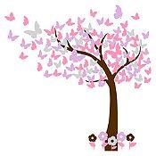 Vinilo Hojas de mariposa Marrón, plata, rosado, lila 110x110cm