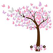 Vinilo Hojas de mariposa Marrón, plata, rosado, lila 150x150cm