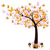 Vinilo Hojas de mariposa Negro, amarillo, naranja, rosado 150x150cm
