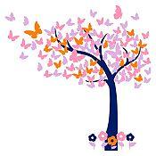Vinilo Hojas de mariposa Azul oscuro, rosado, naranja, lila 150x150cm
