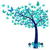 Vinilo Hojas de mariposa Azul oscuro, azul claro, menta, verde turquesa