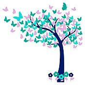Vinilo Hojas de mariposa Azul oscuro, lila, menta, verde turquesa