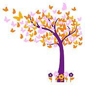 Vinilo Hojas de mariposa Morado, amarillo, naranja, rosado 130x130cm