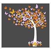 Vinilo Hojas de mariposa Blanco, amarillo, naranja, rosado 130x130cm