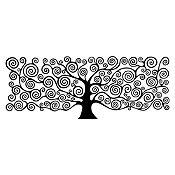 Vinilo Árbol de la vida Klimt Negro 110x42cm