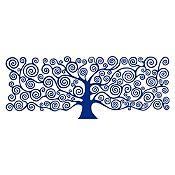 Vinilo Árbol de la vida Klimt Azul Oscuro 110x42cm