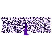 Vinilo Árbol de la vida Klimt Morado 150x58cm