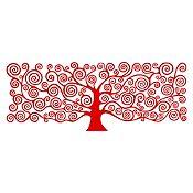 Vinilo Árbol de la vida Klimt Rojo 150x58cm