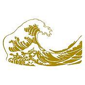 Vinilo La gran ola de Kanagawa Dorado 120x71cm