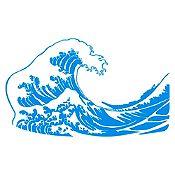 Vinilo La gran ola de Kanagawa Azul Claro 120x71cm