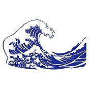 Vinilo La gran ola de Kanagawa Azul Medio 120x71cm
