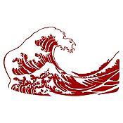 Vinilo La gran ola de Kanagawa Vinotinto 100x60cm