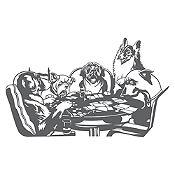 Vinilo Perros jugando póker Gris oscuro 140x85cm