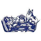Vinilo Perros jugando póker Azul oscuro