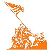 Vinilo Izando la bandera Iwo Jiima Naranja 80x90cm