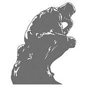Vinilo El pensador de Rodin Gris Oscuro 72x90cm