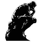 Vinilo El pensador de Rodin Negro 88x110cm