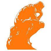 Vinilo El pensador de Rodin Naranja 72x90cm