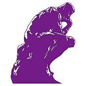 Vinilo El pensador de Rodin Morado 88x110cm