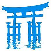 Vinilo Santuario Miyajima Torii Azul claro 85x89cm