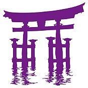 Vinilo Santuario Miyajima Torii Morado 100x105cm