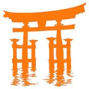 Vinilo Santuario Miyajima Torii Naranja 100x105cm