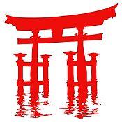 Vinilo Santuario Miyajima Torii Rojo 85x89cm