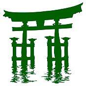 Vinilo Santuario Miyajima Torii Verde oscuro 100x105cm