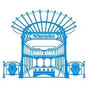 Vinilo Metro París Azul claro 100x82cm