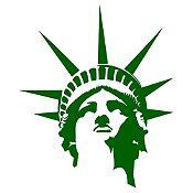 Vinilo Cabeza estatua de la libertad Verde oscuro 75x90cm