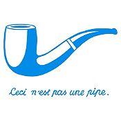 Vinilo Esto no es una pipa - Magritte Azul claro 120x77cm