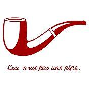 Vinilo Esto no es una pipa - Magritte Vinotinto 90x58cm