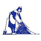 Vinilo La mucama - Banksy Azul Medio 102x75cm