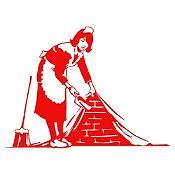 Vinilo La mucama - Banksy Rojo 102x75cm