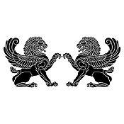 Vinilo Leones persas Negro 152x65cm