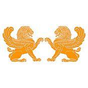 Vinilo Leones persas Naranja 152x65cm