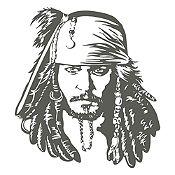 Vinilo Jack Sparrow Gris Oscuro 72x80cm