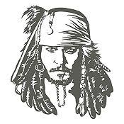 Vinilo Jack Sparrow Gris Oscuro 90x100cm