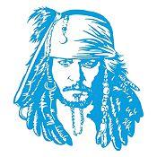 Vinilo Jack Sparrow Azul Claro 72x80cm