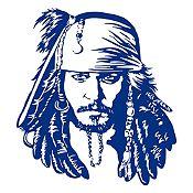 Vinilo Jack Sparrow Azul Oscuro 90x100cm