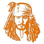 Vinilo Jack Sparrow Naranja 108x120cm