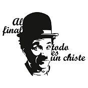 Vinilo Frase Chaplin Negro 78x60cm