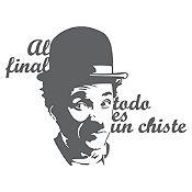 Vinilo Frase Chaplin Gris Oscuro 110x85cm