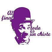 Vinilo Frase Chaplin Morado 95x74cm