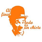 Vinilo Frase Chaplin Naranja 95x74cm