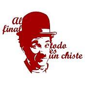 Vinilo Frase Chaplin Vinotinto 110x85cm