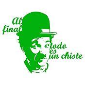Vinilo Frase Chaplin Verde claro 95x74cm