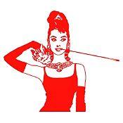 Vinilo Desayuno en Tiffanys Rojo 92x80cm