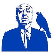 Vinilo Alfred Hitchcock Azul Medio 94x90cm