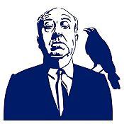 Vinilo Alfred Hitchcock Azul Oscuro 62x60cm